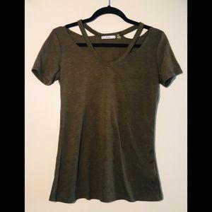 Cut-Out Shoulder Vneck Tshirt